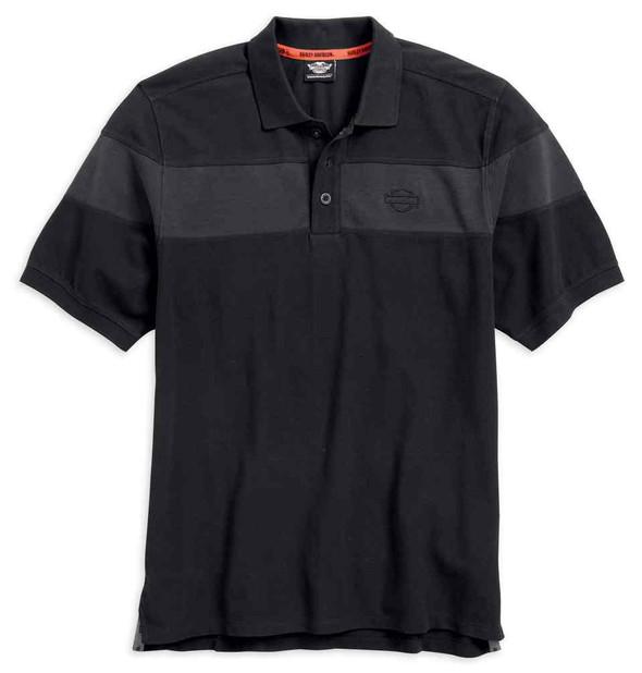 Harley-Davidson Men's Embroidered Chest Stripe Polo Shirt, Black 96495-17VM - Wisconsin Harley-Davidson