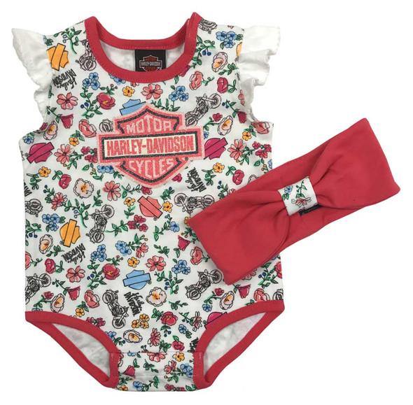 Harley-Davidson Baby Girls' Print 2 Piece Infant Creeper & Headband Set 3011723 - Wisconsin Harley-Davidson