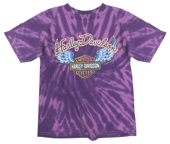 Harley-Davidson Big Girls' Glitter Wings Swirl Tie-Dye Tee, Purple 1540731 - Wisconsin Harley-Davidson