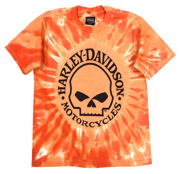 Harley-Davidson Big Boys' Skull Logo Swirl Tie-Die T-Shirt, Orange 1590749 - Wisconsin Harley-Davidson