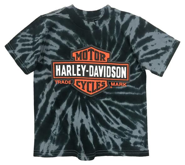Harley-Davidson Little Boys' Bar & Shield Swirl Tie-Die T-Shirt, Black 1580735 - Wisconsin Harley-Davidson