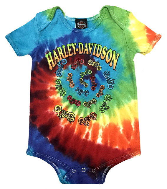 Harley-Davidson Baby Boys' Bikes Swirl Rainbow Tie-Dye Creeper 3050747 - Wisconsin Harley-Davidson