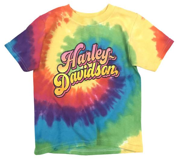Harley-Davidson Big Girls' Sugar Glitter H-D Swirl Tie-Dye Rainbow Tee 1540753 - Wisconsin Harley-Davidson
