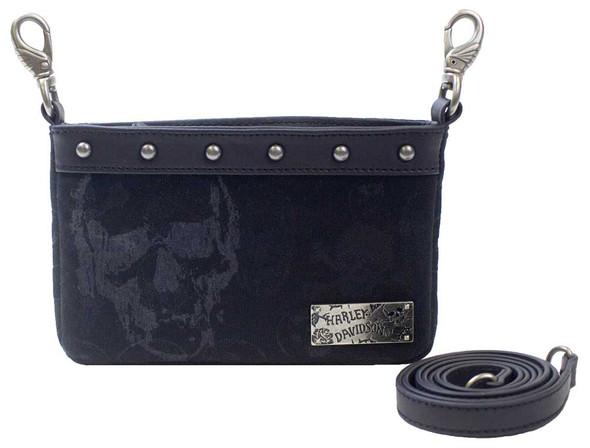 Harley-Davidson Women's Black Skull Jacquard Hip Bag w/ Strap SJ4985J-BLACK - Wisconsin Harley-Davidson