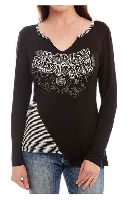Harley-Davidson Women's Asymmetric Embellished Blocking Long Sleeve Shirt, Black - Wisconsin Harley-Davidson