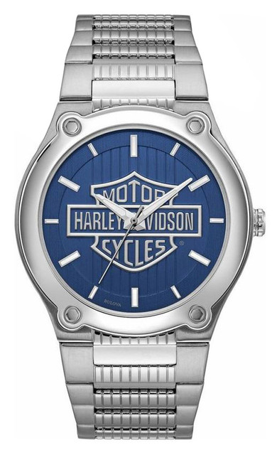 Harley-Davidson Men's Blue Patterned Bar & Shield Stainless Steel Watch 76A159 - Wisconsin Harley-Davidson
