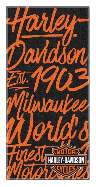 Harley-Davidson Street Art H-D Beach Towel, 30 x 60 inch, Black/Orange NW350892 - Wisconsin Harley-Davidson