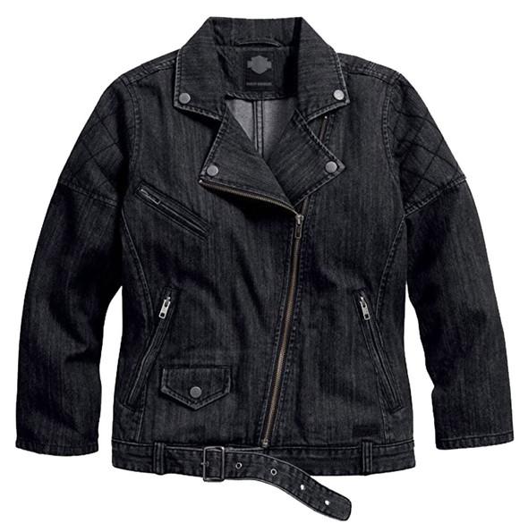 Harley-Davidson Women's Slim Fit Denim Biker Casual Jacket, Black 96278-16VW - Wisconsin Harley-Davidson