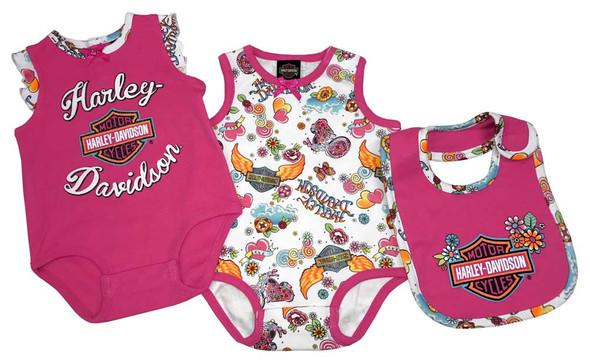 Harley-Davidson Baby Girls' Glitter 2 Piece Infant Creeper Set w/ Bib 3012717 - Wisconsin Harley-Davidson