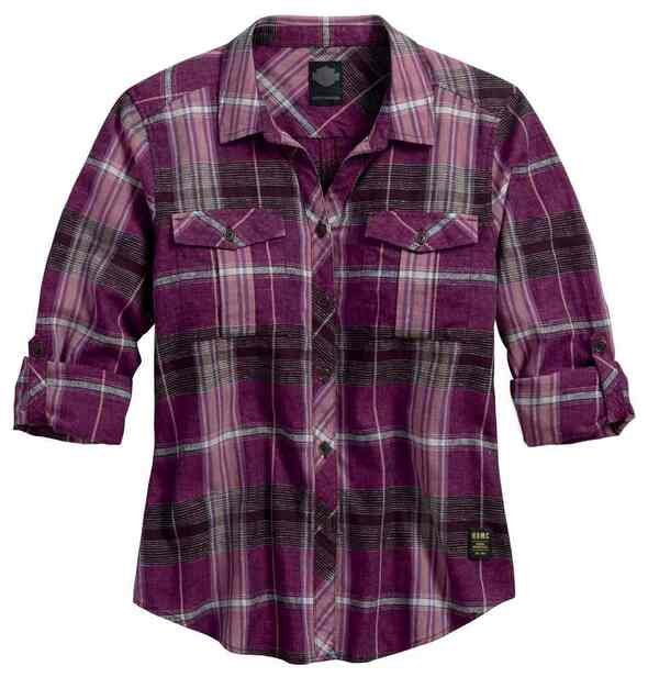 Harley-Davidson Women's Roll-Tab Sleeve Plaid Shirt, Purple 96191-17VW - Wisconsin Harley-Davidson