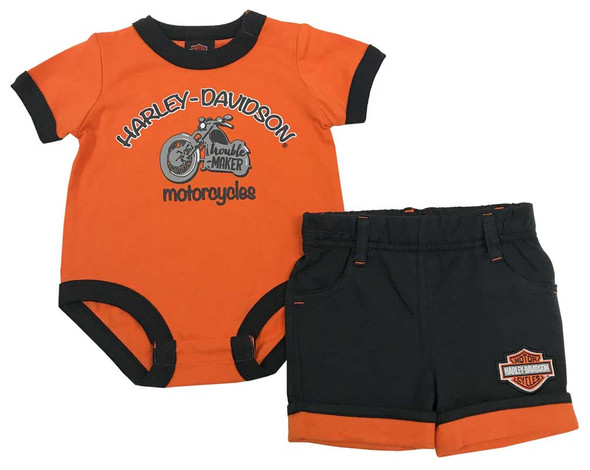 Harley-Davidson Baby Boys' Short Set w/ Infant Creeper, Orange & Black 2062707 - Wisconsin Harley-Davidson