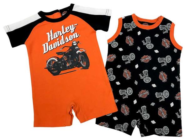 Harley-Davidson Baby Boys' Biker 2-Pack Newborn Romper Set, Black/Orange 3052703 - Wisconsin Harley-Davidson