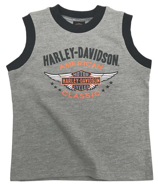 Harley-Davidson Little Boys' Winged Bar & Shield Jersey Muscle Tee, Gray 1072731 - Wisconsin Harley-Davidson