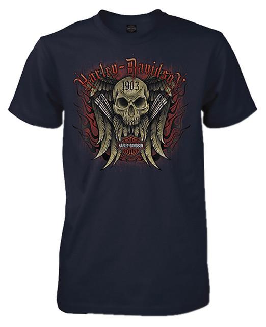Harley-Davidson Men's Ace-High Skull Short Sleeve Crew-Neck T-Shirt, Navy Blue - Wisconsin Harley-Davidson