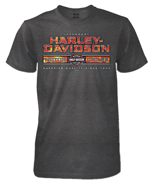 Harley-Davidson Men's Ambush Short Sleeve Crew-Neck T-Shirt, Charcoal Heather - Wisconsin Harley-Davidson