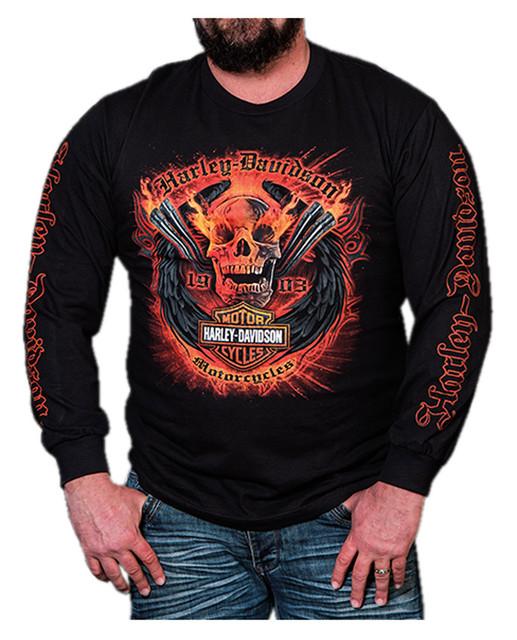 Harley-Davidson Men's Flaming Chrome Pipes Long Sleeve Crew-Neck Shirt, Black - Wisconsin Harley-Davidson