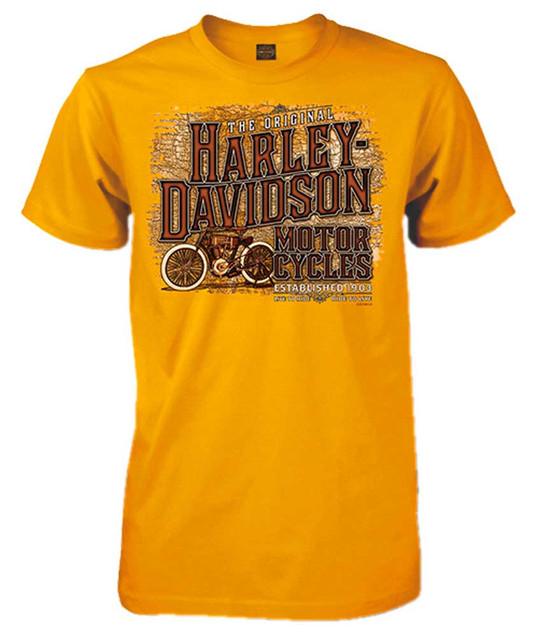 Harley-Davidson Men's Inspired Classic Short Sleeve Crew T-Shirt, Gold Yellow - Wisconsin Harley-Davidson
