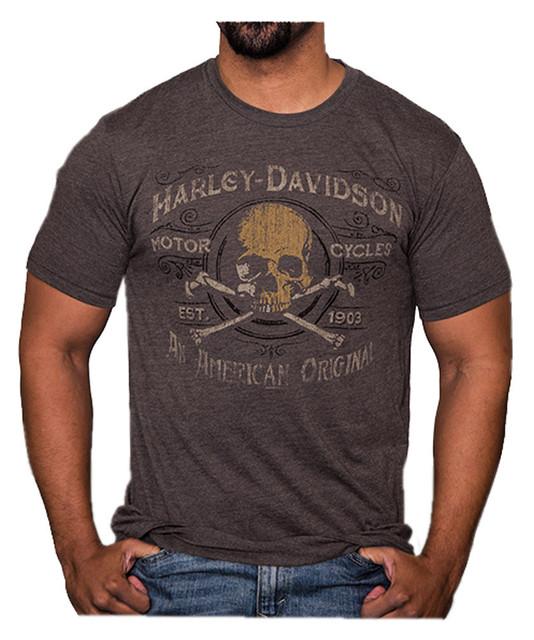 Harley-Davidson Men's Boneyard Distressed Short Sleeve T-Shirt, Macchiato Brown - Wisconsin Harley-Davidson