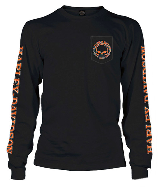 Harley-Davidson Men's Capsule Willie G Skull Long Sleeve Pocket Shirt, Black - Wisconsin Harley-Davidson