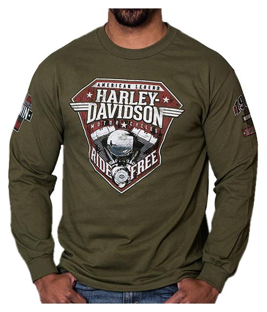 Harley-Davidson Men's Distressed Uprising Long Sleeve Shirt, Fatigue Green - Wisconsin Harley-Davidson