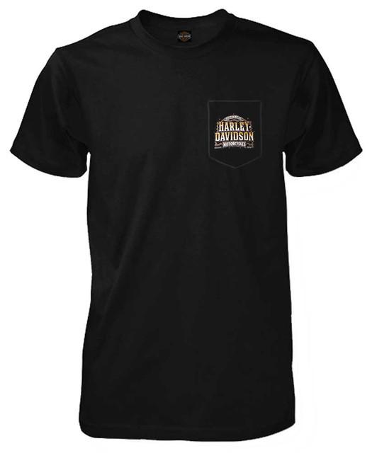 Harley-Davidson Men's Drive Chain H-D Short Sleeve Chest Pocket T-Shirt, Black - Wisconsin Harley-Davidson
