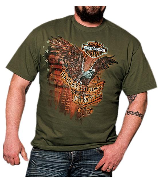 Harley-Davidson Men's Identity Eagle B&S Short Sleeve T-Shirt, Fatigue Green - Wisconsin Harley-Davidson