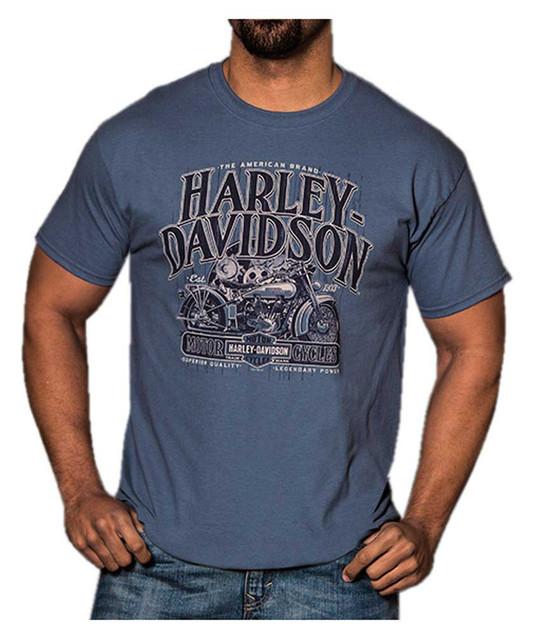 Harley-Davidson Men's Vintage Classic Brand Short Sleeve T-Shirt, Indigo Blue - Wisconsin Harley-Davidson