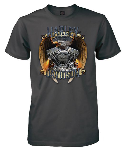 Harley-Davidson Men's Fury Eagle & Engine Short Sleeve Crew T-Shirt, Charcoal - Wisconsin Harley-Davidson