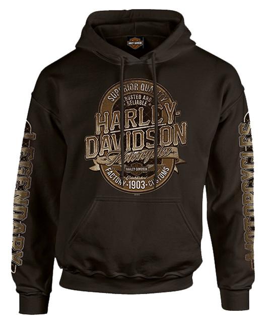 Harley-Davidson Men's Distressed Dark Force Pullover Sweatshirt, Dark Chocolate - Wisconsin Harley-Davidson