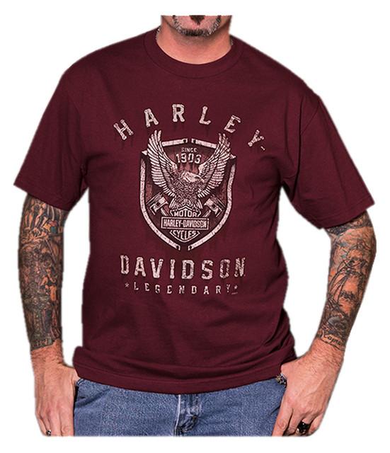 Harley-Davidson Men's Fortitude Eagle Short Sleeve Crew T-Shirt, Burgundy - Wisconsin Harley-Davidson