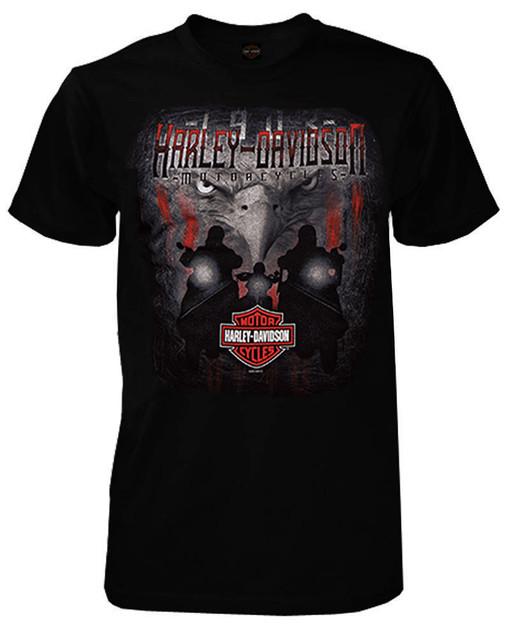 Harley-Davidson Men's Stare Down Eagle Short Sleeve Crew-Neck T-Shirt, Black - Wisconsin Harley-Davidson