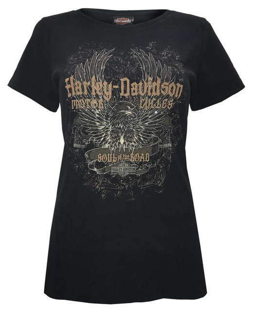 Harley-Davidson Women's Studded Immortal Eagle Short Sleeve Tee, Black Rust - Wisconsin Harley-Davidson