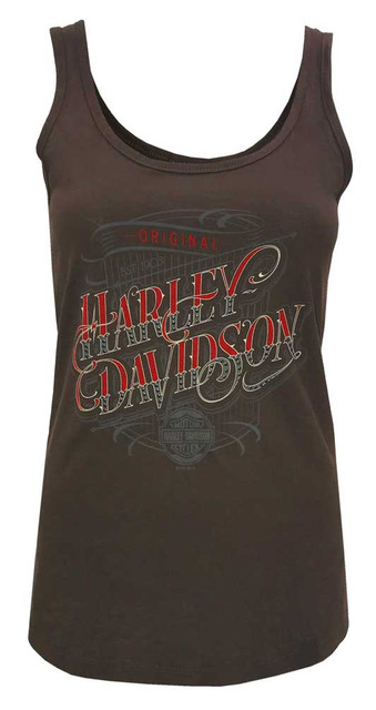 Harley-Davidson Women's Gunslinger Embellished Sleeveless Tank Top, Cocoa - Wisconsin Harley-Davidson