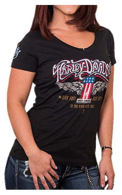 Harley-Davidson Women's Distressed Foil Superstar Notched V-Neck Tee, Black - Wisconsin Harley-Davidson