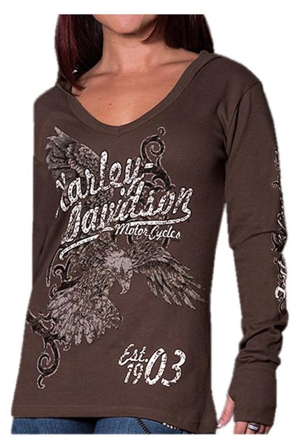 Harley-Davidson Women's Distressed Flier Eagle Thermal Hoodie, Espresso Brown - Wisconsin Harley-Davidson