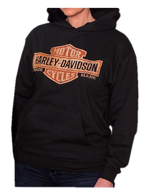 Harley-Davidson Women's Distressed Bar & Shield Pullover Sweatshirt, Black - Wisconsin Harley-Davidson
