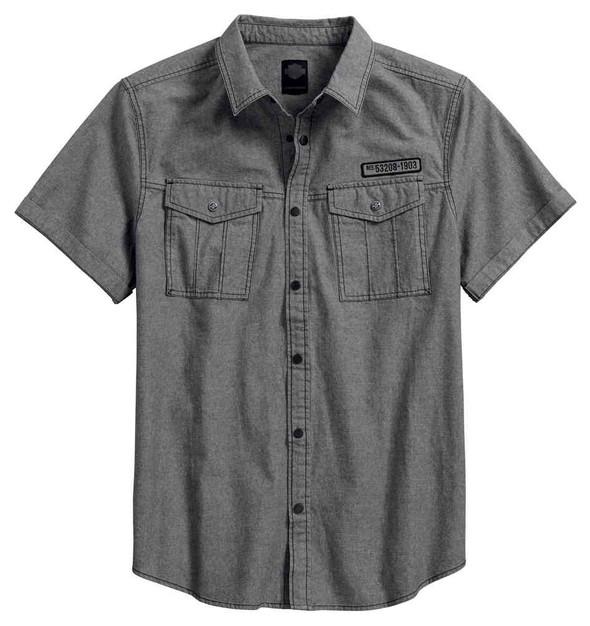 Harley-Davidson Men's Double Pocket Denim Short Sleeve Shirt, Gray 96645-17VM - Wisconsin Harley-Davidson