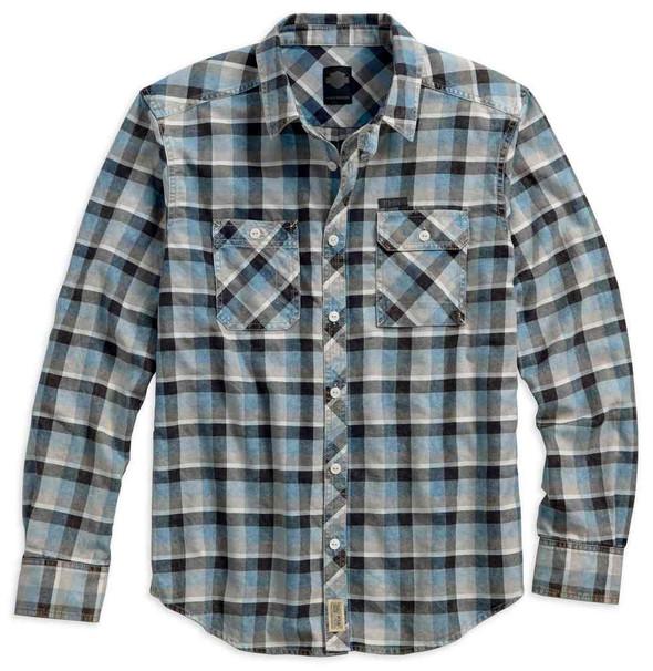 Harley-Davidson Men's Plaid Cotton Twill Long Sleeve Shirt, Blue 96642-17VM - Wisconsin Harley-Davidson