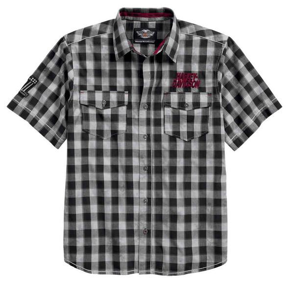 Harley-Davidson Men's Chain Stitch Plaid Short Sleeve Woven Shirt 96599-17VM - Wisconsin Harley-Davidson