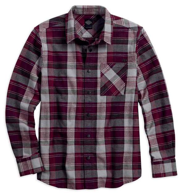 Harley-Davidson Men's Plaid Zippered Pocket Long Sleeve Woven Shirt 96646-17VM - Wisconsin Harley-Davidson