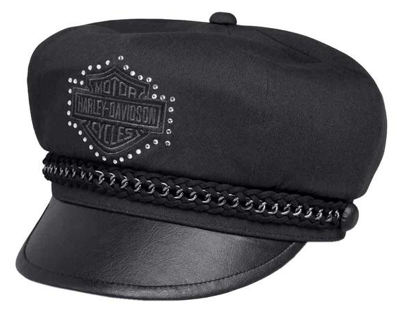 Harley-Davidson Women's Chain Embellished Accent Biker Cap, Black 99578-17VW - Wisconsin Harley-Davidson