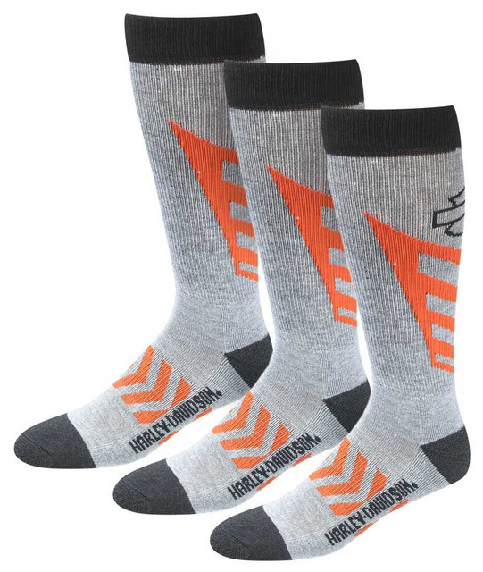 Harley-Davidson Men's CoolMax Performance Rider Socks (Gray, Large), 3 Pairs - Wisconsin Harley-Davidson