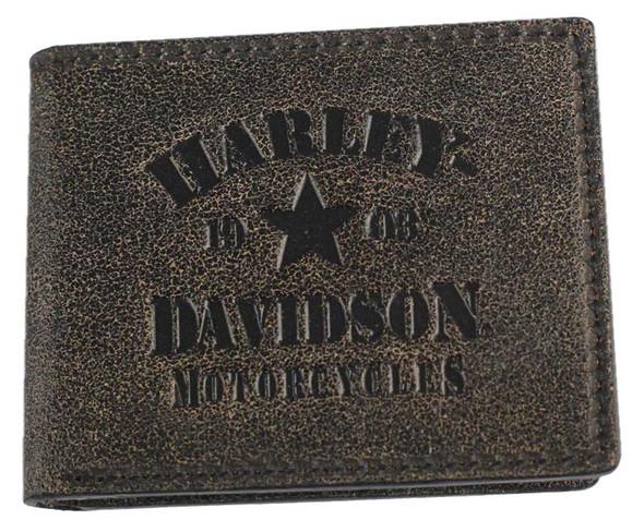 Harley-Davidson Men's Burnished Military Leather Bifold Wallet BM6146L-TANBLK - Wisconsin Harley-Davidson