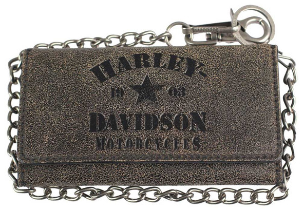 Harley-Davidson Men's Burnished Military Tri-Fold Leather Wallet BM6129L-TANBLK - Wisconsin Harley-Davidson