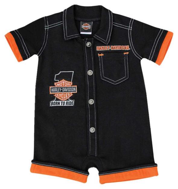 Harley-Davidson Baby Boys' #1 B&S Interlock Short Sleeve Newborn Romper 3052519 - Wisconsin Harley-Davidson