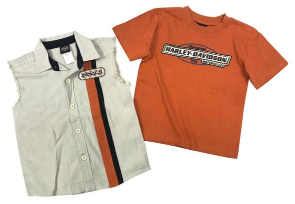 Harley-Davidson Little Boys' 2 Piece Blow-Out & Short Sleeve Shirt Set 1071521 - Wisconsin Harley-Davidson