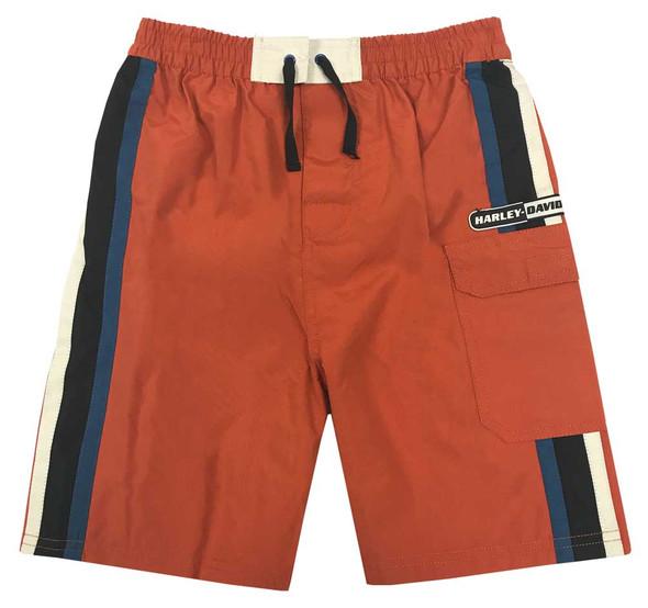 Harley-Davidson Big Boys' Striped Swim Trunks w/ Mesh Lining, Orange 9091515 - Wisconsin Harley-Davidson