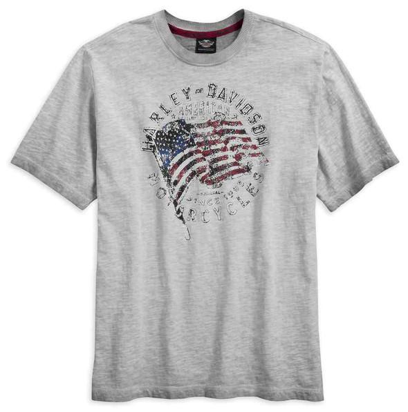 Harley-Davidson Men's Slub Jersey Americana Short Sleeve Tee, Gray 96612-17VM - Wisconsin Harley-Davidson