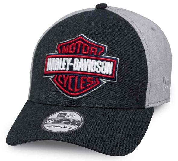 Harley-Davidson Men's Americana 39THIRTY Fitted Baseball Cap, Gray 97659-17VM - Wisconsin Harley-Davidson