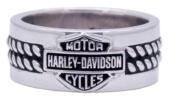 Harley-Davidson Men's Double Silver Rope Band Bar & Shield H-D Ring HDR0445 - Wisconsin Harley-Davidson
